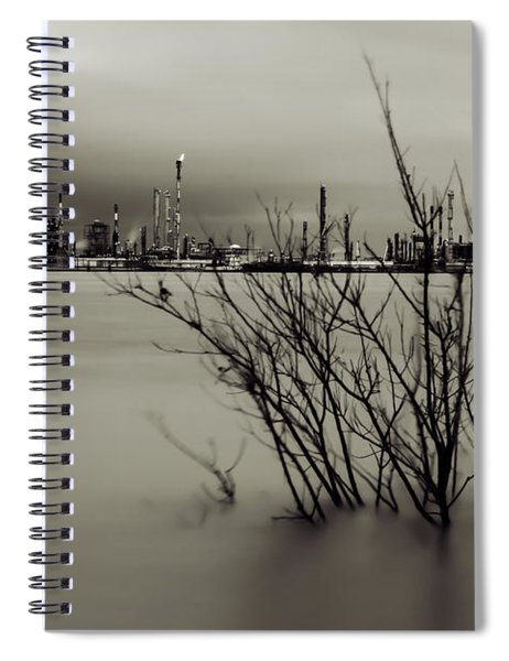Industry On The Mississippi River, In Monochrome Spiral Notebook