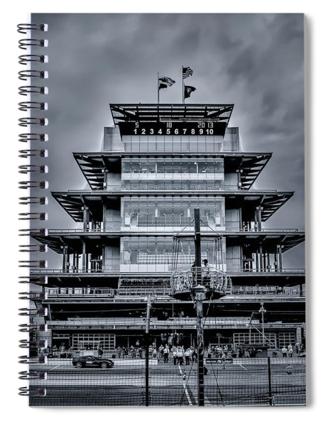 Indy 500 Pagoda - Black And White Spiral Notebook