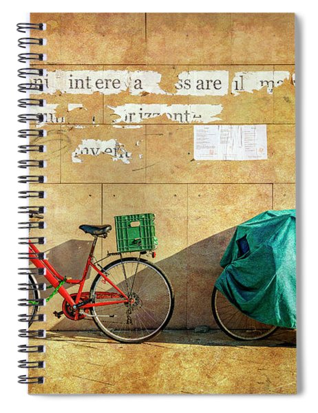 Intere Red Bicycle With Green Basket Spiral Notebook