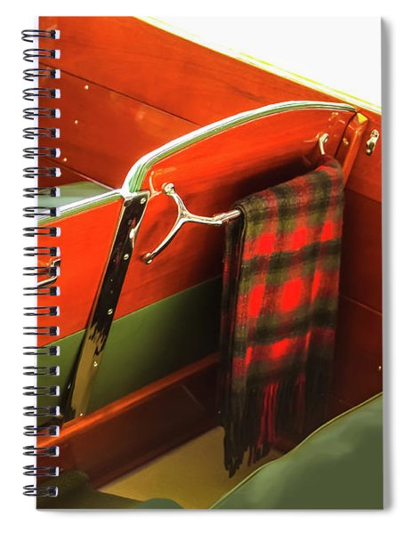 interior of Classic Wooden Motorboat Spiral Notebook