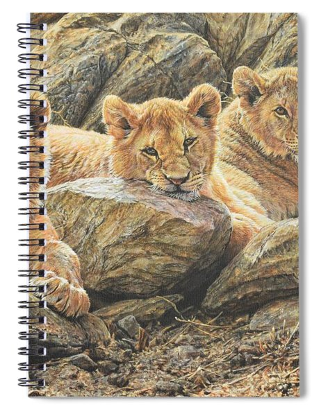 Spiral Notebook featuring the painting Interrupted Cat Nap by Alan M Hunt
