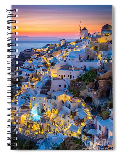 Spiral Notebook featuring the photograph Oia Sunset by Inge Johnsson