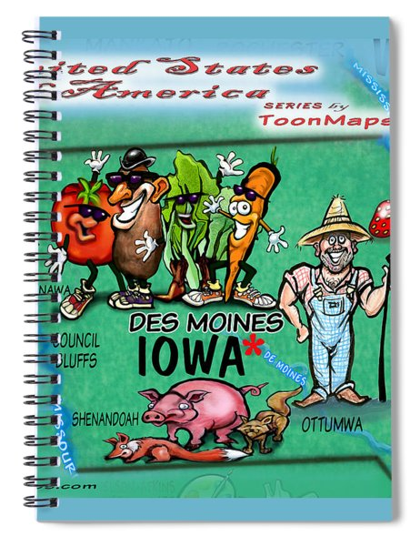 Iowa Fun Map Spiral Notebook