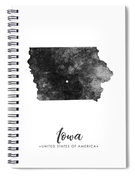 Iowa State Map Art - Grunge Silhouette Spiral Notebook