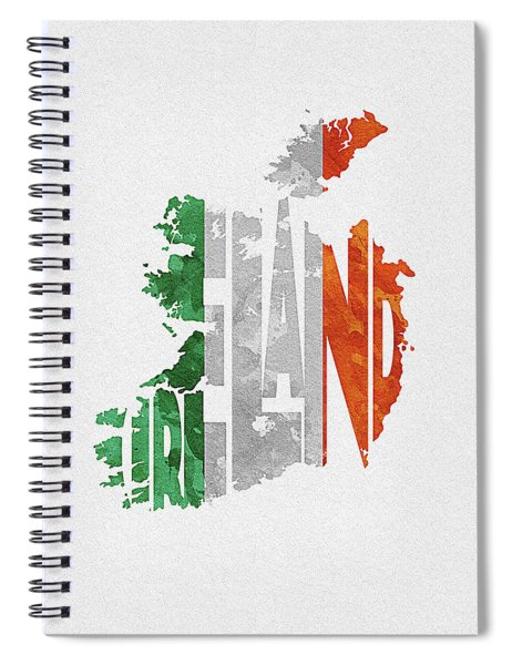 Ireland Typographic Map Flag Spiral Notebook