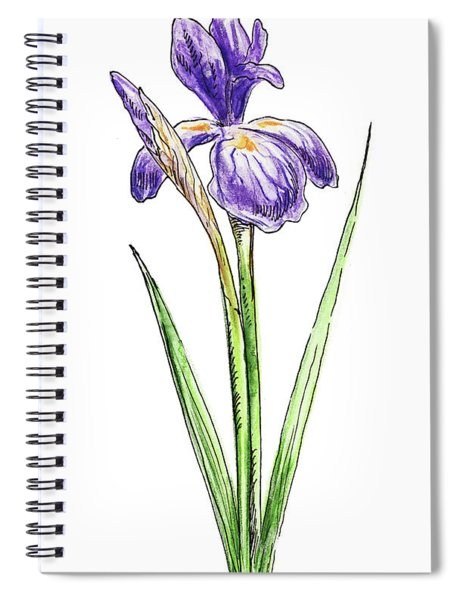 Iris Flower Watercolor Spiral Notebook