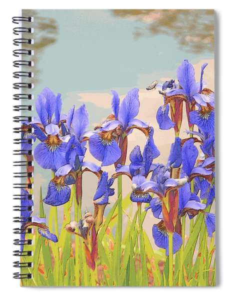 Spiral Notebook featuring the digital art Iris Pondside 39m by Brian Gryphon