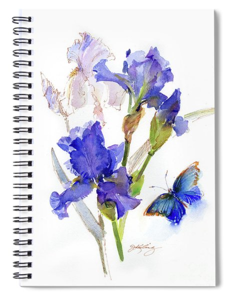 Iris With Blue Butterfly Spiral Notebook