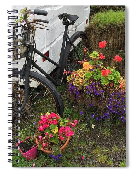 Irish Bike And Flowers Spiral Notebook