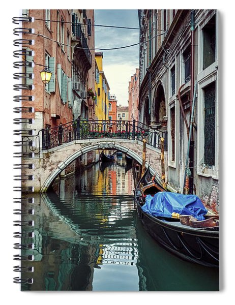 Gondola Parked On Lonely Water Canal In Venice, Italy Spiral Notebook