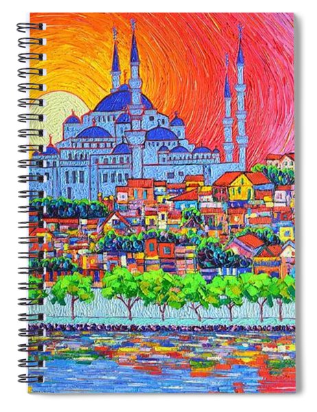 Istanbul Blue Mosque Sunset Modern Impressionist Palette Knife Oil Painting By Ana Maria Edulescu    Spiral Notebook