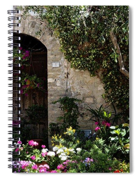 Italian Front Door Adorned With Flowers Spiral Notebook