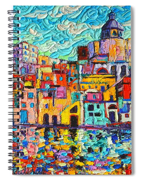 Italy Procida Island Marina Corricella Naples Bay Palette Knife Oil Painting By Ana Maria Edulescu Spiral Notebook