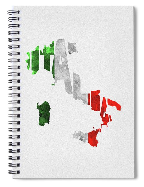 Italy Typographic Map Flag Spiral Notebook