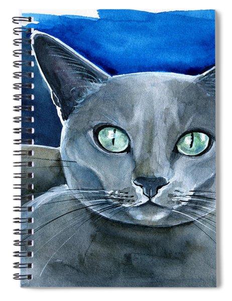 Jackpot - Russian Blue Cat Painting Spiral Notebook
