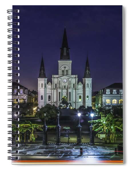 Jackson Square And St. Louis Cathedral At Dawn, New Orleans, Louisiana Spiral Notebook