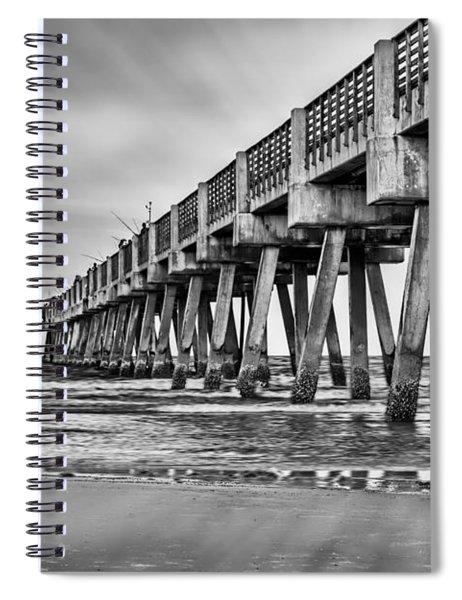 Jacksonville Beach Pier In Black And White Spiral Notebook