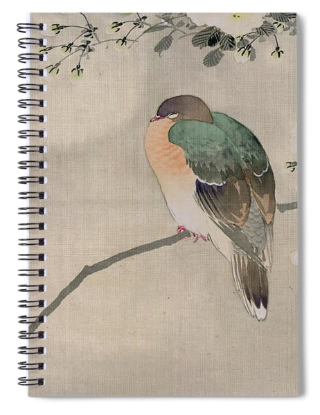 Japanese Silk Painting Of A Wood Pigeon Spiral Notebook