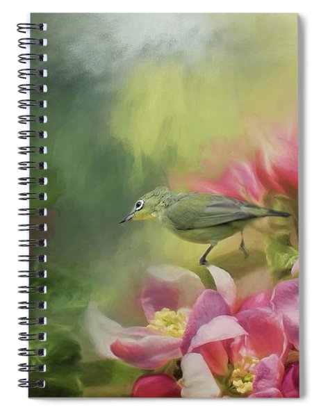 Japanese White-eye On A Blooming Tree Spiral Notebook