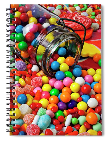 Jar Spilling Bubblegum With Candy Spiral Notebook