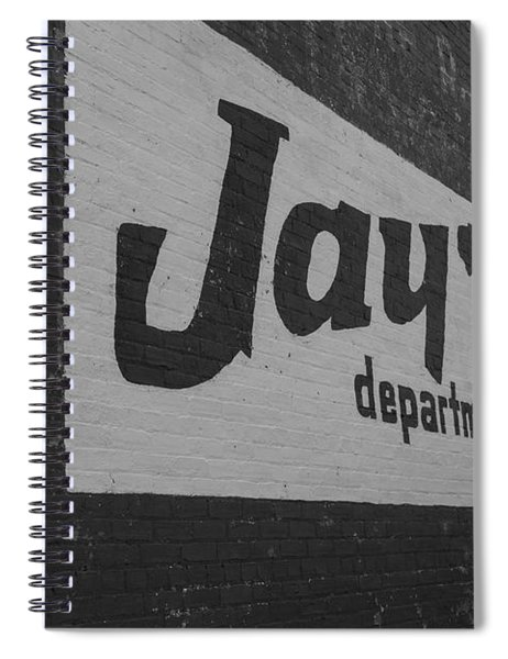 Spiral Notebook featuring the photograph Jay's Department Store In Bw by Doug Camara
