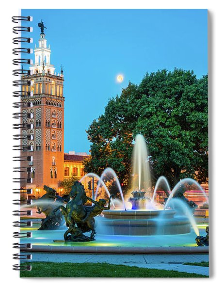 Spiral Notebook featuring the photograph J.c. Nichols Memorial Fountain by Inge Johnsson