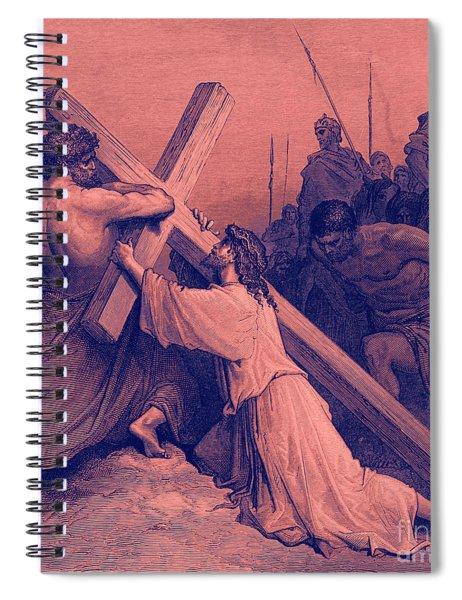 Jesus Falling Beneath The Cross  Biblical Scene Spiral Notebook