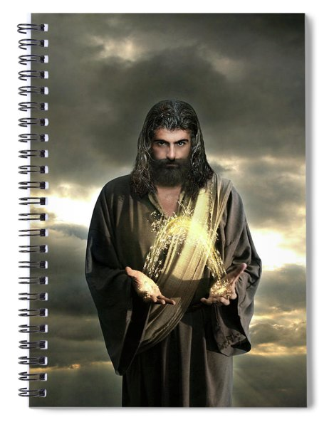 Jesus In The Clouds With Radiant Power Spiral Notebook