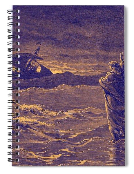 Jesus Walks On Water By Dore Spiral Notebook