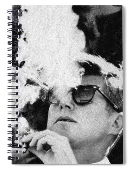 John F Kennedy Cigar And Sunglasses Black And White Spiral Notebook