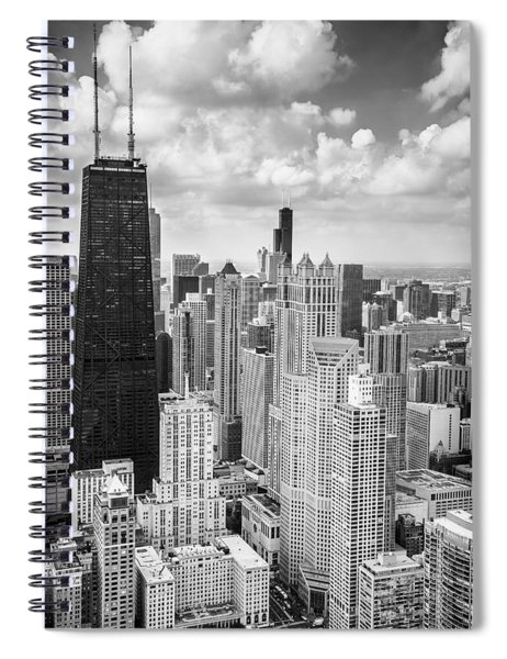 John Hancock Building In The Gold Coast Black And White Spiral Notebook