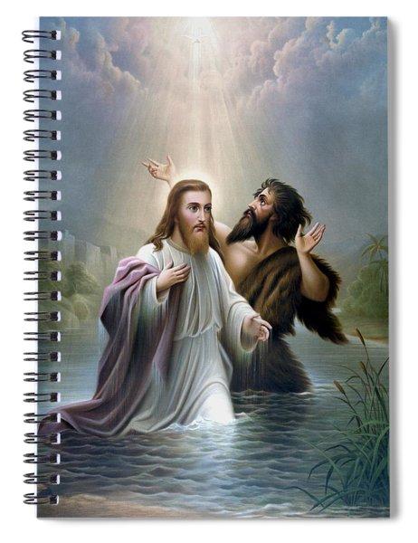 John The Baptist Baptizes Jesus Christ Spiral Notebook