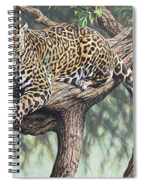 Spiral Notebook featuring the painting Jungle Outlook by Alan M Hunt