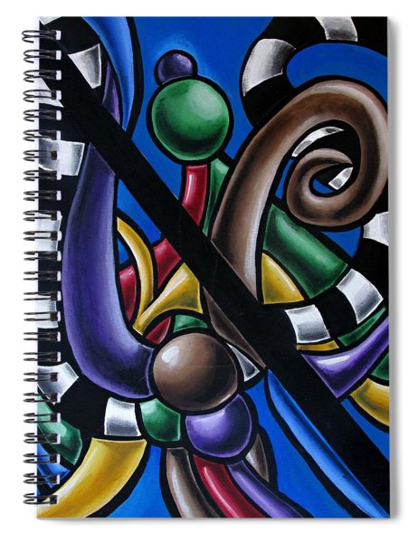 Colorful 3d Abstract Art Painting - Multicolored Original Artwork - Black And White Stripes Spiral Notebook