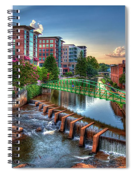 Just Before Sunset 2 Reedy River Falls Park Greenville South Carolina Art Spiral Notebook