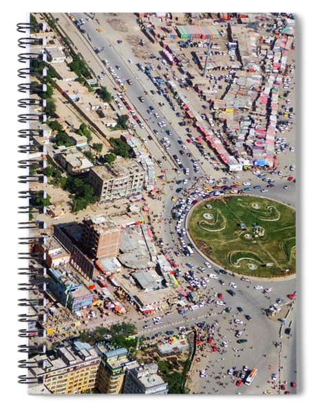 Kabul Traffic Circle Aerial Photo Spiral Notebook