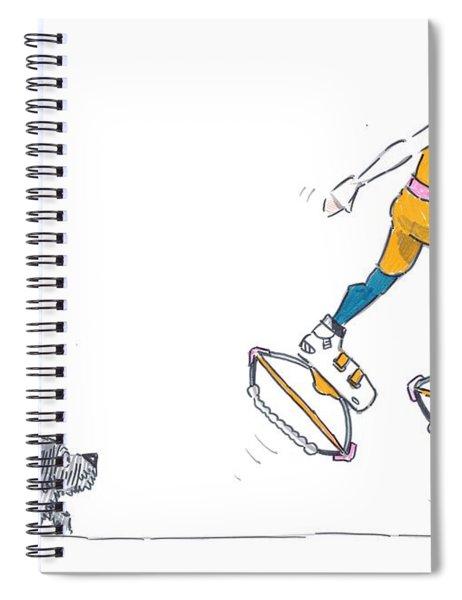 Kangoo Jumps Bouncy Shoes Walking The Dog Keep Fit Cartoon Spiral Notebook