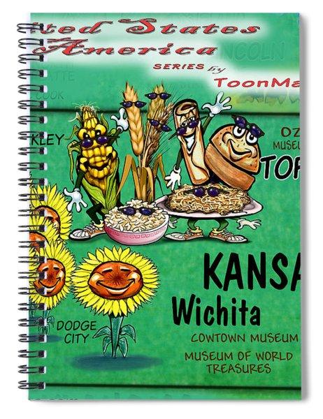 Kansas Fun Map Spiral Notebook