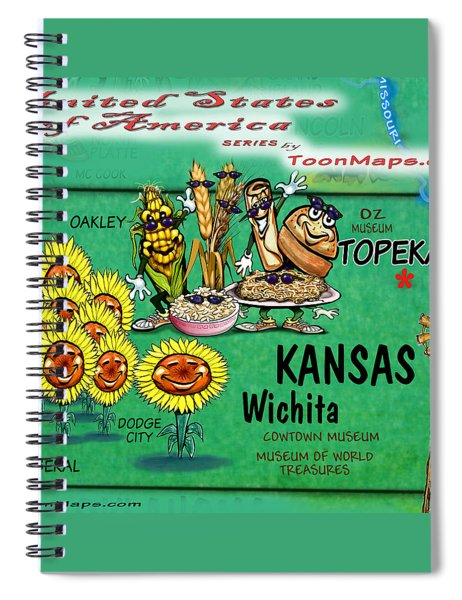 Kansas Fun Map Spiral Notebook