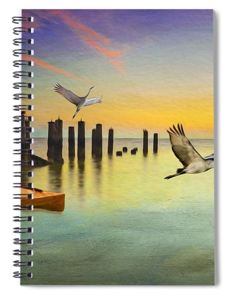 Kayak And Cranes Spiral Notebook