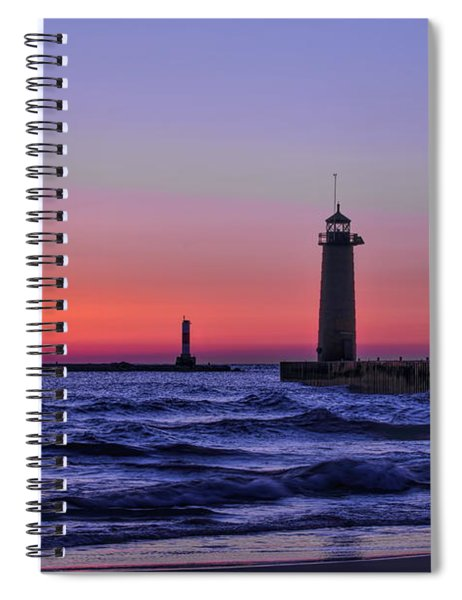Kenosha Lighthouse Blue Waves Spiral Notebook