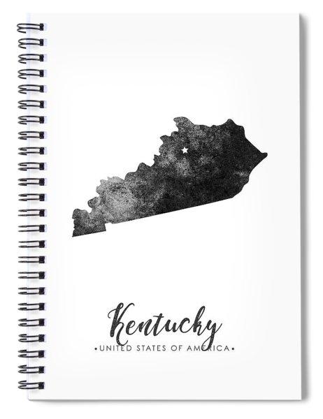 Kentucky State Map Art - Grunge Silhouette Spiral Notebook