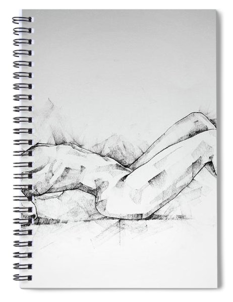 Sketchbook Page 55 Charcoal Drawing Woman Lateral Pose Spiral Notebook