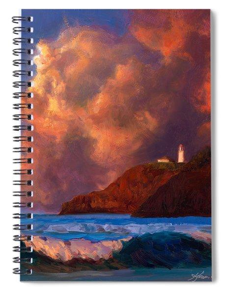 Kilauea Lighthouse - Hawaiian Cliffs Sunset Seascape And Clouds Spiral Notebook