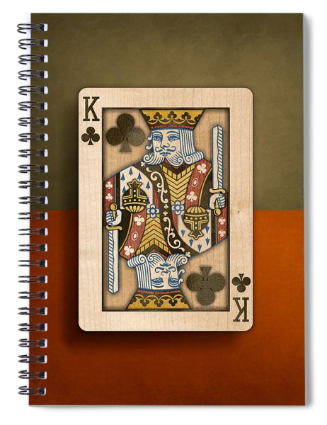 King Of Clubs In Wood Spiral Notebook