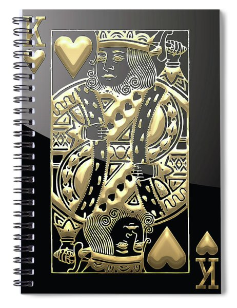 King Of Hearts In Gold On Black Spiral Notebook