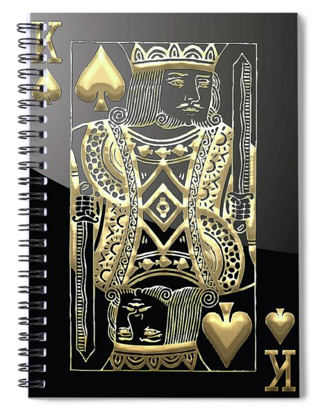 King Of Spades In Gold On Black   Spiral Notebook