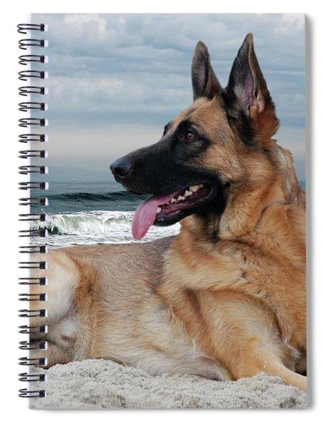 King Of The Beach - German Shepherd Dog Spiral Notebook