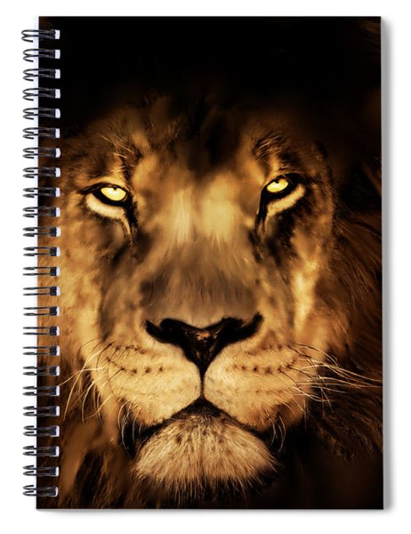 King Of The Jungle - Lion Digital Painting Spiral Notebook