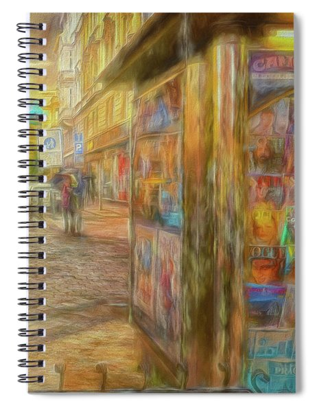 Kiosk - Prague Street Scene Spiral Notebook